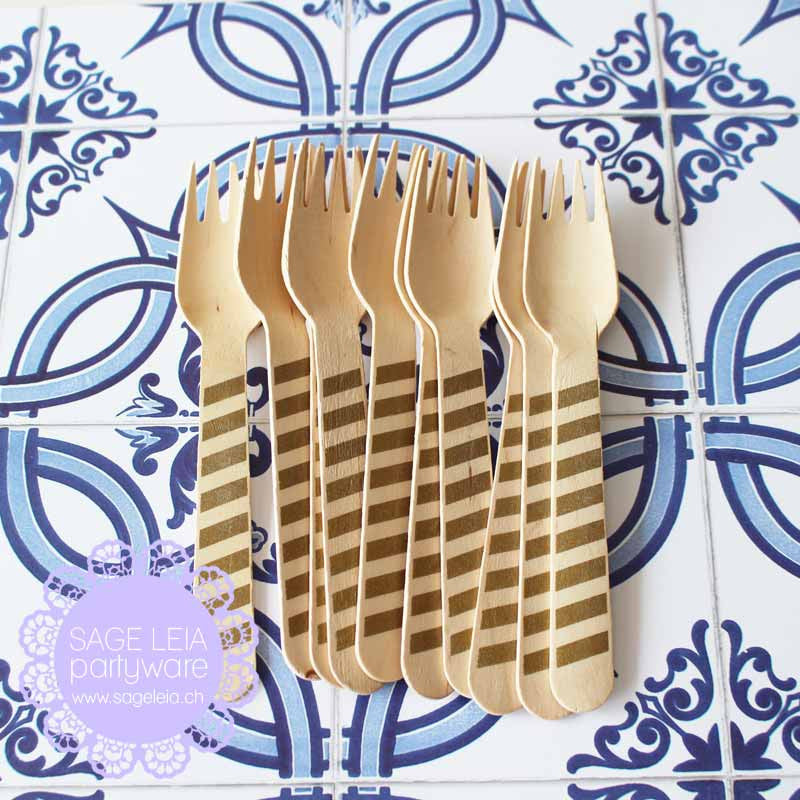 Set of 10 Diagonal Stripes Gold Wooden Cutlery Knives