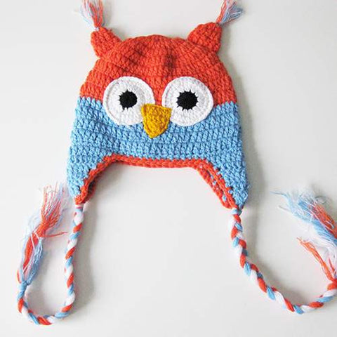 Baby Toddler Fashion Owl Crochet Hat Orange/Light Blue