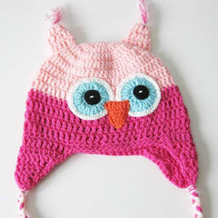 Baby Toddler Fashion Owl Crochet Hat Pink/Blue Eyes