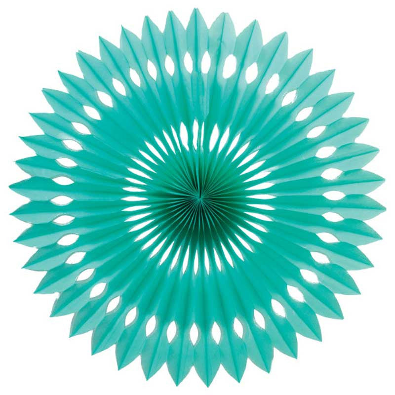 Party Decorative Honeycomb Tissue Paper Fan Turquoise Aqua Green (30cm)
