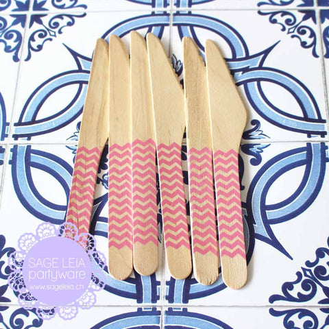 Set of 6 Chevron Bubblegum Pink Wooden Cutlery Knives