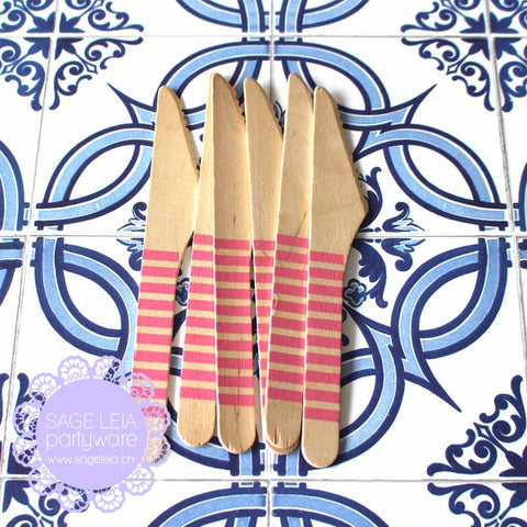 Set of 6 Candy Stripes Bubblegum Pink Wooden Cutlery Knives