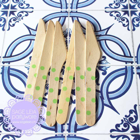 Set of 6 Polka Dots Green Wooden Cutlery Knives