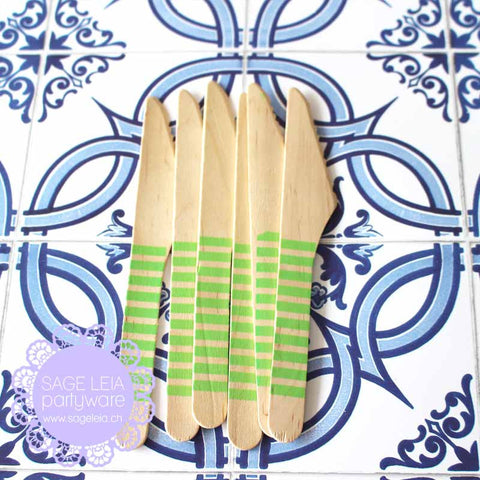 Set of 6 Candy Stripes Green Wooden Cutlery Knives