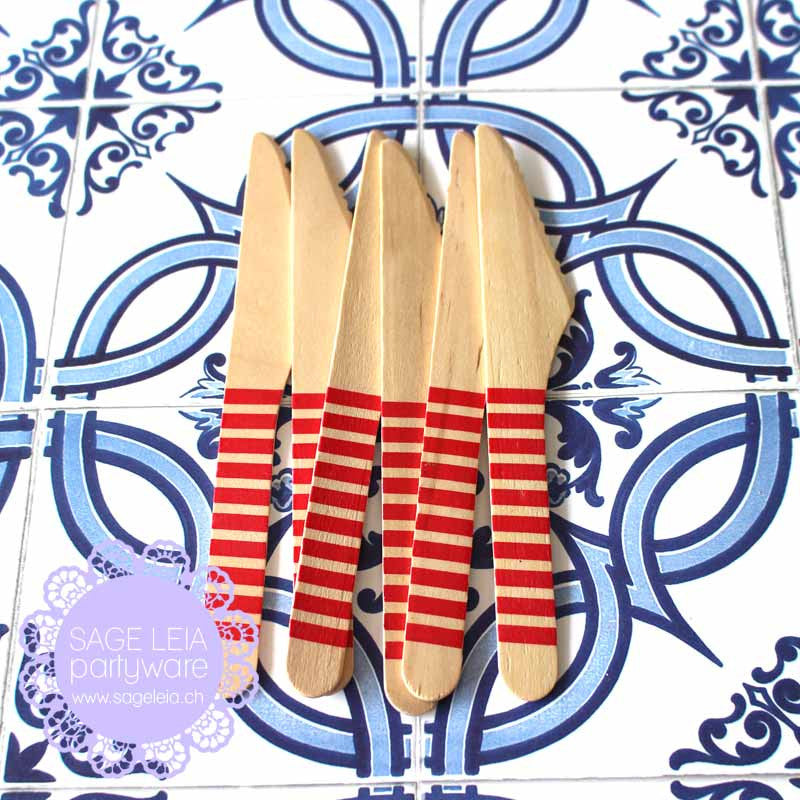 Set of 6 Candy Stripes Red Wooden Cutlery Knives