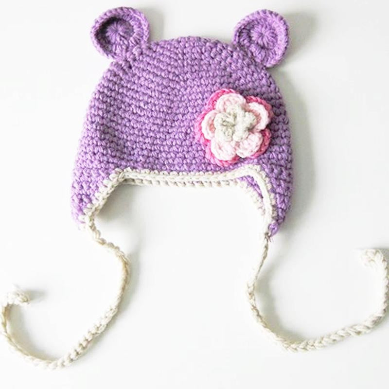 Baby Toddler Fashion Monkey Crochet Hat Lavender