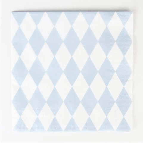Pack of 20 Light Blue Diamond Print Pattern Party Napkins
