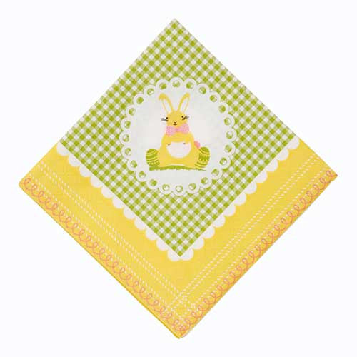 Springtime Bunny Yellow/Green Gingham Pack of 20 Party Napkins