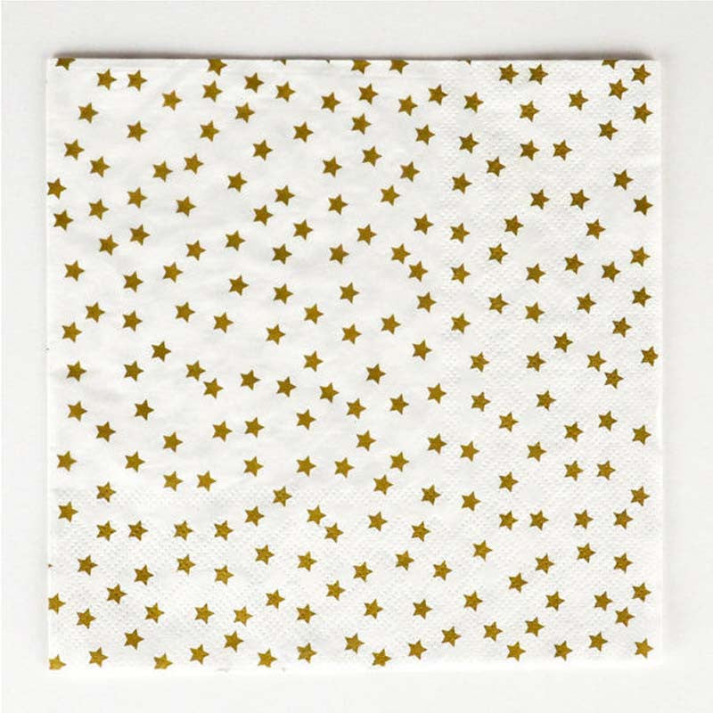 Pack of 20 Gold Stars Print Pattern Party Napkins