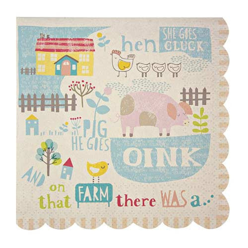 Happy Little Farm Pack of 20 Party Napkins with Scallop Edge