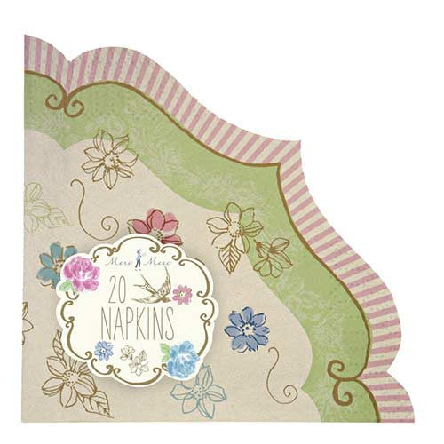 Love in the Afternoon Floral Garden Pack of 20 Party Napkins with Scroll Borders