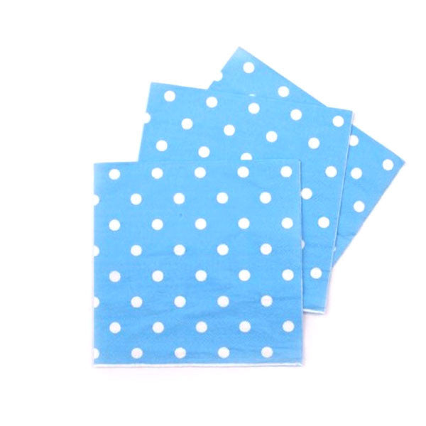 Polka Dots Blue Pack of 20 Lunch Napkins