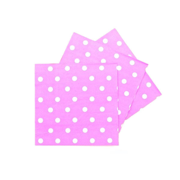 Polka Dots Pink Pack of 20 Lunch Napkins