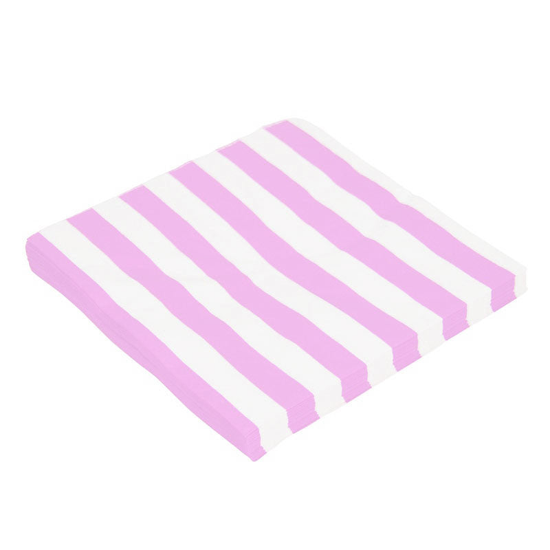 Candy Stripes Light Pink Pack of 20 Lunch Napkins