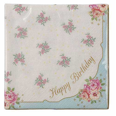 Truly Scrumptious Garden Floral Happy Birthday Pack of 20 Party Napkins