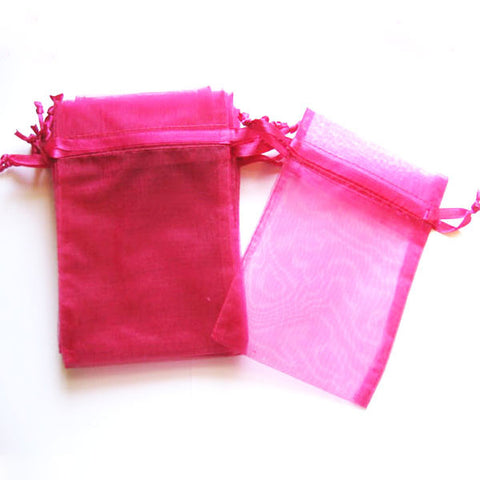 Pack of 10 Drawstring Hot Pink Pink Organza Favor Bags