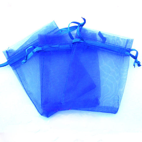 Pack of 10 Drawstring Royal Dark Blue Organza Favor Bags
