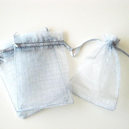 Pack of 10 Drawstring Light Grey Organza Favor Bags