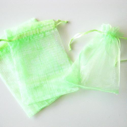 Pack of 10 Drawstring Mint Green Organza Favor Bags