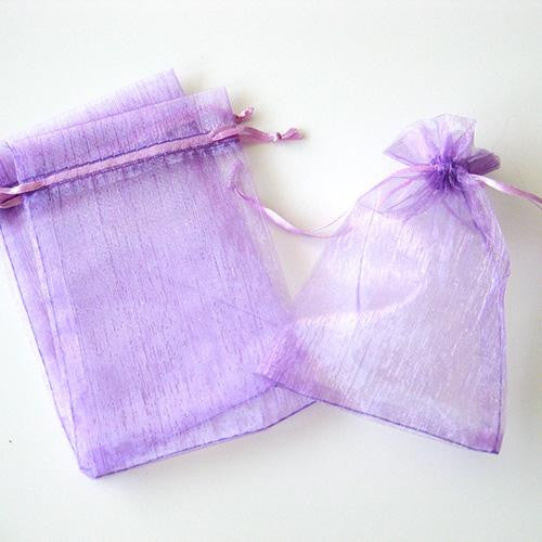 Pack of 10 Drawstring Lavender Purple Organza Favor Bags