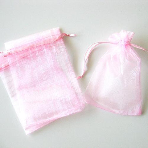Pack of 10 Drawstring Light Pink Organza Favor Bags