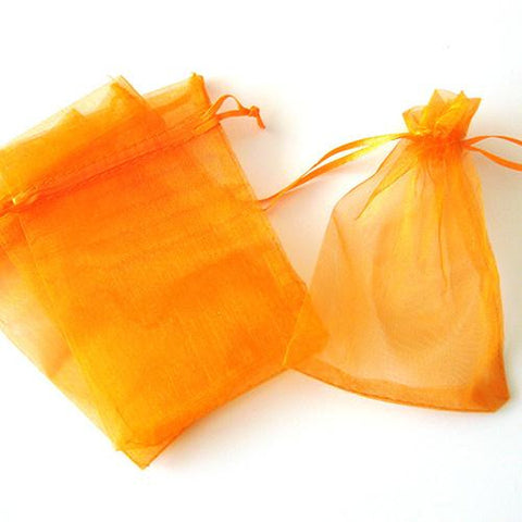 Pack of 10 Drawstring Orange Organza Favor Bags