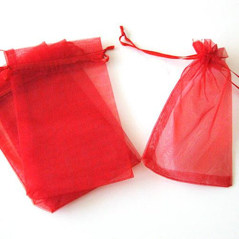 Pack of 10 Drawstring Red Organza Favor Bags