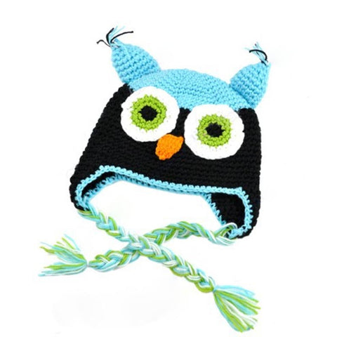 Baby Toddler Fashion Owl Crochet Hat Blue/Black