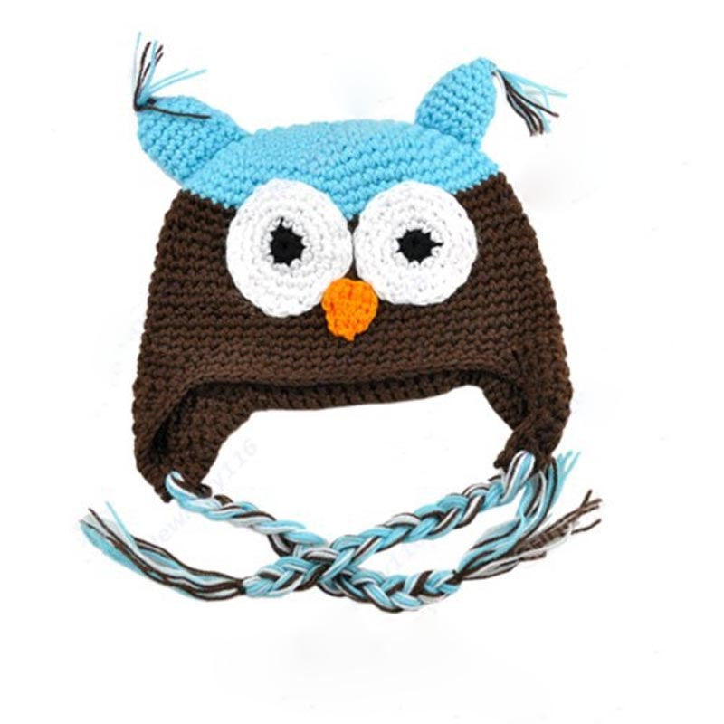Baby Toddler Fashion Owl Crochet Hat Blue/Brown