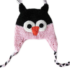 Baby Toddler Fashion Owl Crochet Hat Light Pink/Black