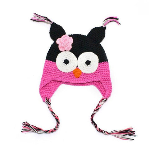 Baby Toddler Fashion Owl Crochet Hat Black/Neon Pink