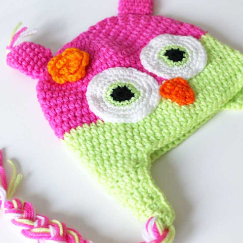 Baby Toddler Fashion Pink & Bright Green Owl Crochet Hat