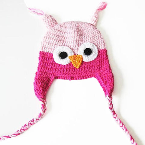 Baby Toddler Fashion Owl Crochet Hat Light/Hot Pink