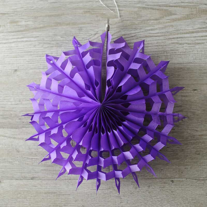 Snowflake Tissue Paper Fan - Royal Purple (30cm)