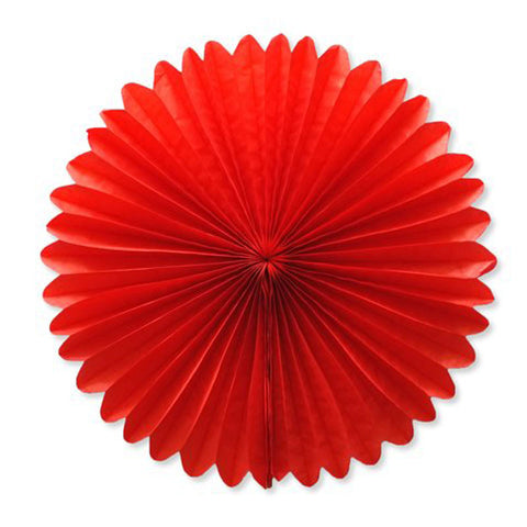 Party Decorative Tissue Paper Fan Daisy Flower Medallion Red (30cm)