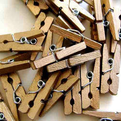Pack of 25 Mini Wooden Decoration Pegs Bronze Gold