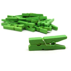Pack of 25 Mini Wooden Decoration Pegs Green