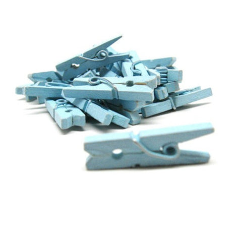 Pack of 25 Mini Wooden Decoration Pegs Light Blue