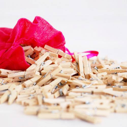 Pack of 25 Mini Wooden Decoration Pegs Au Naturel