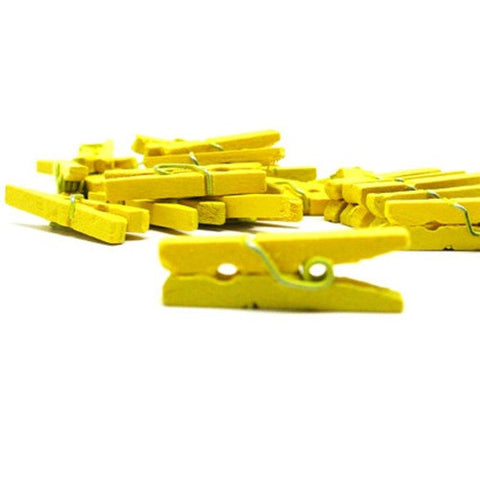 Pack of 25 Mini Wooden Decoration Pegs Yellow
