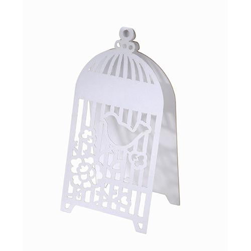 Something in the Air Pack of 10 White Elegant Birdcage Tent-fold Place Cards