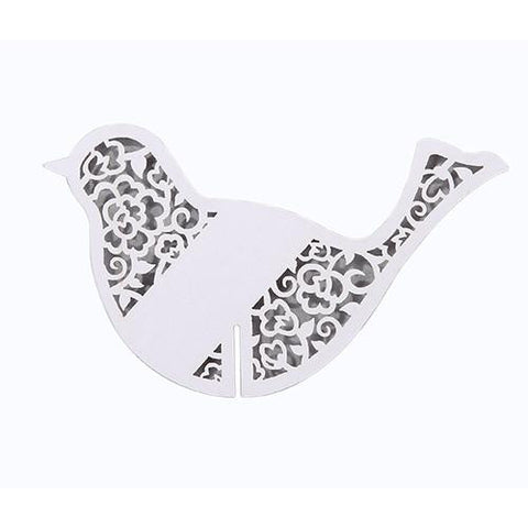 Something in the Air Pack of 10 White Elegant Bird Place Cards
