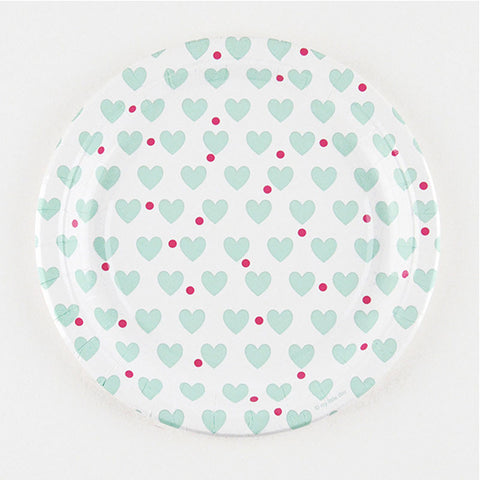 Pack of 8 Mint Aqua Hearts Print Pattern Party Plates (23cm)
