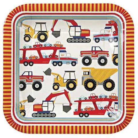 Big Rig Construction Pack of 12 Large Square Party Plates (23.5cm)