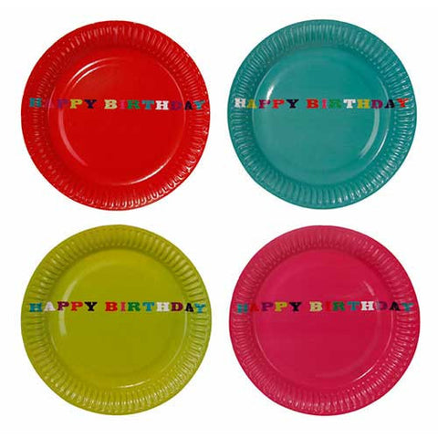 Birthday Bash Pack of 8 Party Plates in 4 Designs (18cm)