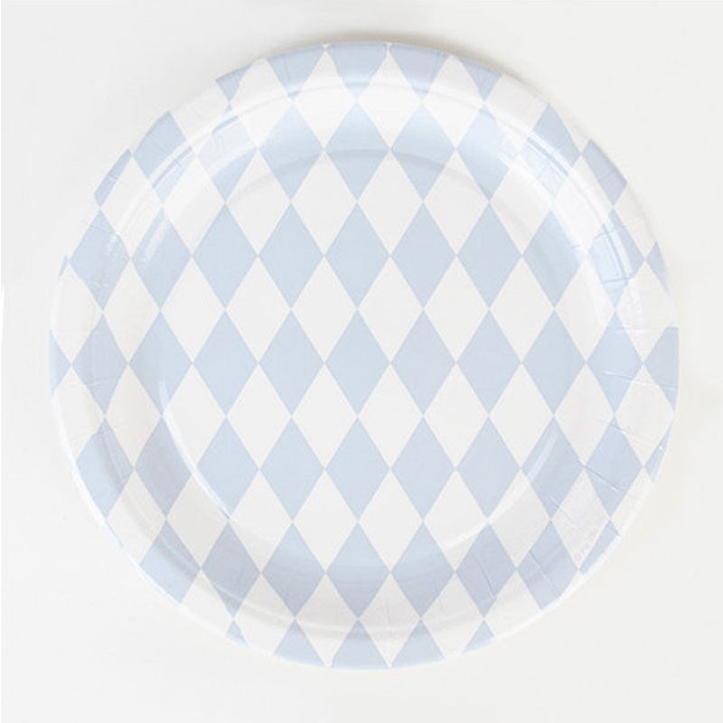 Pack of 8 Light Blue Diamond Print Pattern Party Plates (23cm)