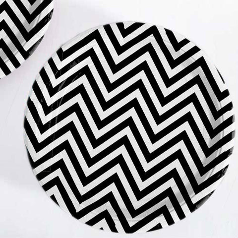 Chevron Black Pack of 12 Premium Round Plates (23cm)