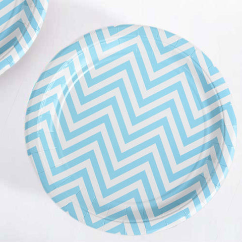 Chevron Blue Pack of 12 Premium Round Plates