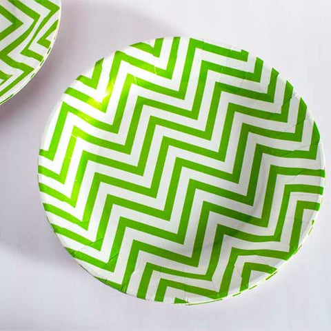 Chevron Green Pack of 12 Premium Round Plates