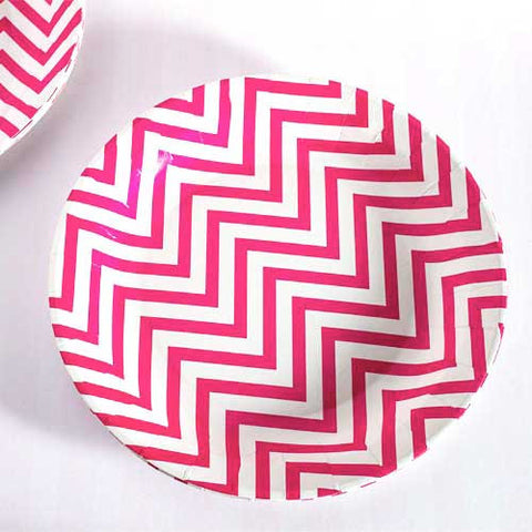 Chevron Hot Pink Pack of 12 Premium Round Plates